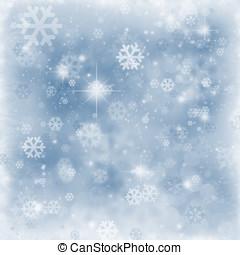 invierno, plano de fondo, copos de nieve, y, chispea,...