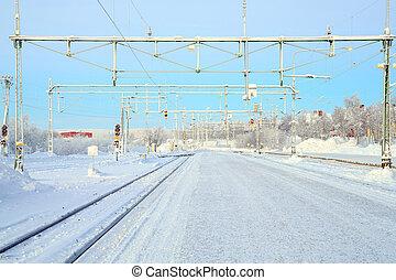 invierno, plataforma del ferrocarril