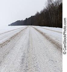 invierno, primer plano, camino