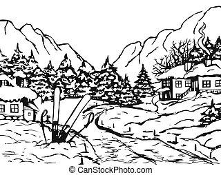 invierno, pueblo