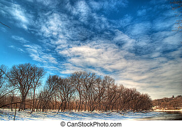 invierno, río, minnesota