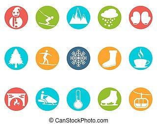 invierno, redondo, botón, iconos