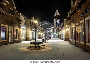 invierno, reloj, calle, noche, torre, paisaje