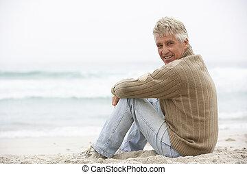 invierno, sentado, 3º edad, feriado, playa, hombre