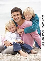 invierno, sentado, padre, juntos, playa, niños