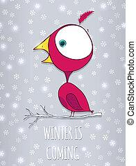 invierno, sentado, snowflakes., garabato, ilustración, vector, plano de fondo, branch., pájaro