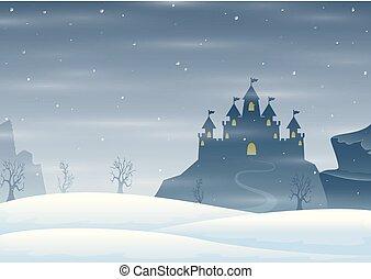 invierno, silueta, castillo, navidad, colina