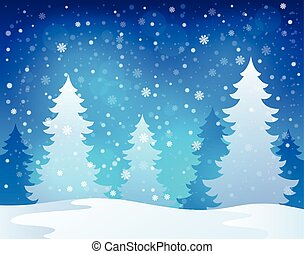 invierno, tema, paisaje, 1