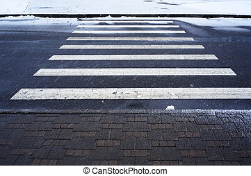 invierno, urbano, crosswalk., scene.