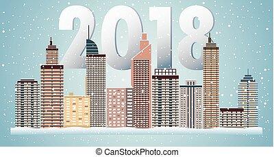 invierno, urbano, paisaje., ciudad, con, snow., navidad, 2018.