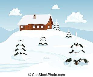 invierno, vector, ilustración, chalet