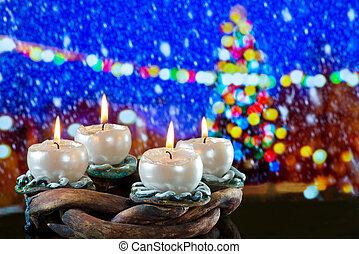 invierno, velas, burni?ng, guirnalda, advenimiento, frente, paisaje