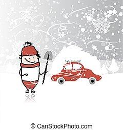 invierno, ventisca, coche, snowbank, techo, hombre