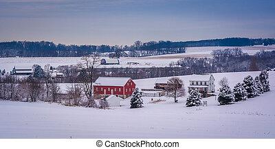 invierno, vista, de, un, granja, en, rural, york, condado, pennsylvania.