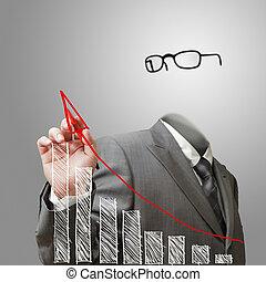 invisível, homem negócio, delinear, crescimento, gráfico