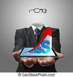 invisível, homem negócio, mão, mostrando, 3d, de, sucesso, gráfico, negócio