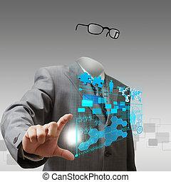 invisível, homem negócio, mostra, negócio, progresso