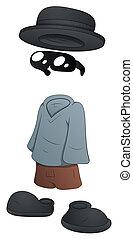 invisibile, -, carattere, cartone animato, uomo