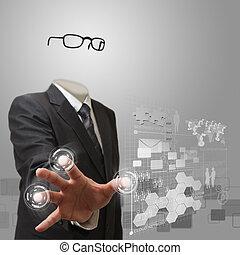 invisibile, uomo affari, lavorando, tecnologia moderna