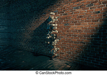 invisible girl standing near brick wall with dollar bills,...
