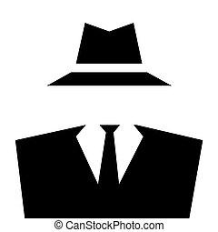 invisible, icon., anónimo, hombre