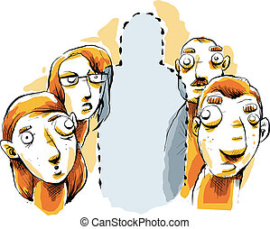 Invisible Person - Cartoon people unaware of the invisible...