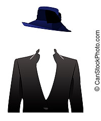 an illustration of a faceless woman in a business attire concept