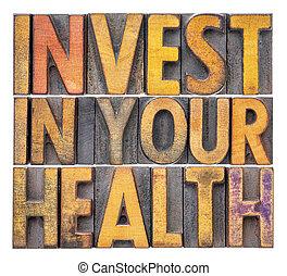 invista dentro, seu, saúde, conceito
