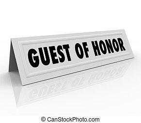 invité, de, honneur, nom, carte tente, orateur, accueil,...
