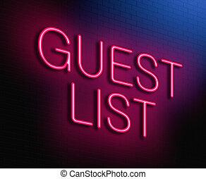 invité, liste, concept.