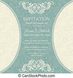 invitación, azul, barroco, beige