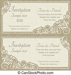 invitación, barroco, beige