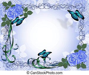 invitación boda, azul, rosas, frontera