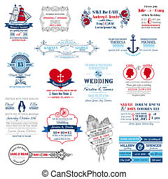 invitación boda, colección, -, para, diseño, álbum de recortes, -, en, vector