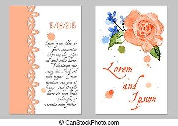 invitación boda, con, flor, rosa, ¿?