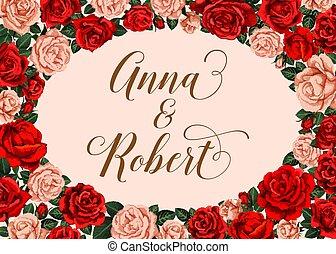 invitación boda, con, rosa, flor, marco, frontera