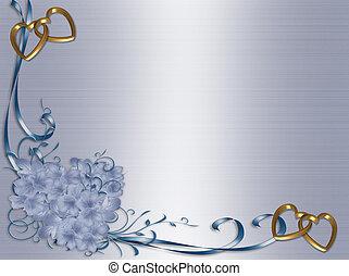 invitación, boda, floral, raso azul