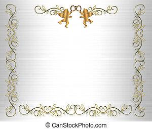 invitación boda, frontera, blanco, sentado