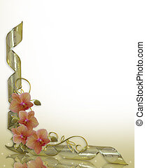 invitación, boda, frontera, floral, orquídeas