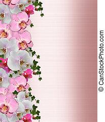 invitación boda, frontera, orquídeas, hiedra