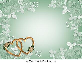 invitación boda, oro, corazones