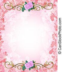invitación boda, plantilla, rosas