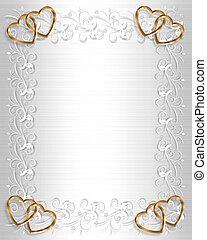 invitación boda, raso blanco, oro