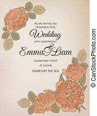 invitación boda, rosa, peonía, flores
