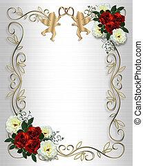 invitación boda, rosa roja, frontera