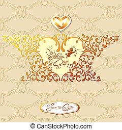 invitación boda, tarjeta, con, elementos florales, marco, en, forma corazón, viñeta, calligraphic, manuscrito, texto, ángel, anillos, en, beige, y, oro, fondo.
