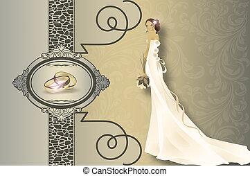 invitación boda, tarjeta, design.