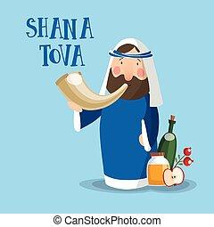 invitación, hashanah., plano de fondo, soplar, rabbi, vector, caricatura, plano, año nuevo, design., horn., tova, feriado, shofar, ilustración, tarjeta, shana, saludo, judío, rosh