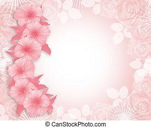 invitación, hibisco, partido de la boda, rosa, o