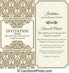 invitación, marrón, barroco, beige